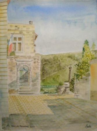La place de la mairie à Ménerbes