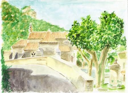 La place du vieux Robion près de Cavaillon.